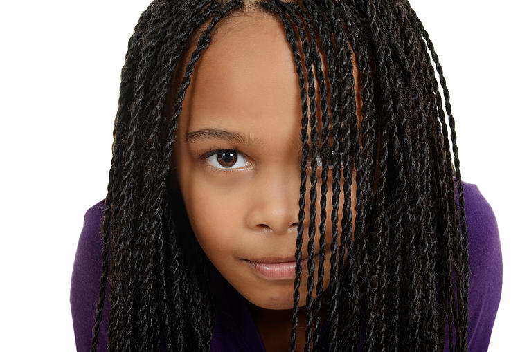 Young Black Child With Braids Over Face Human Hair Extensions